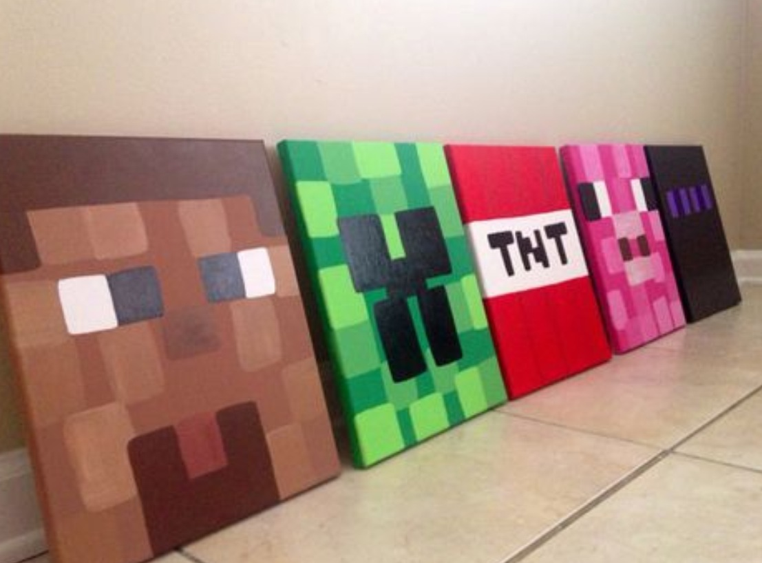 Minecraft canvas painting the red wagon for Teaching kids to paint on canvas